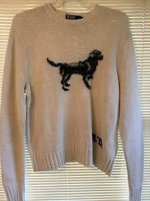 Vtg POLO RALPH LAUREN Hunting Dog Sweater Mens M Ivory Sweater 45 Chest RL 01