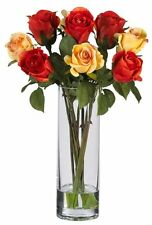 Nearly Natural 4740 Roses with Glass Vase Silk Flower Arrangement- Multi