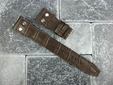 New 22mm Brown Grain Leather Strap Watch Band with Rivet IWC BIG PILOT Button 22