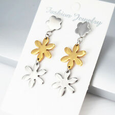 Silver Gold Stainless Steel Dangle Star Stud Earrings NEW FREE SHIPPING