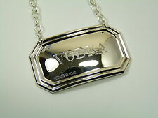 NEW - Sterling Silver - Deco DECANTER / Wine Label - VODKA - Boxed
