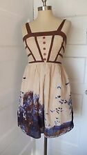Burlapp Anthropologie Dress Cotton Silk Blend Birds Trees Tan Blue XS