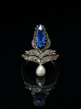 BELLE EPOQUE NATURAL CEYLON SAPPHIRE PEARL AND DIAMOND TIARA FLOWER FEATHER RING