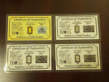 ACB Gold Silver Platinum Palladium 5GRAIN BULLION MINTED Bars w/COA'S (4 bars)