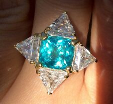 $700 Full fire blue Apatite earth mined 3.82ct Sterling Silver gold over ring 9