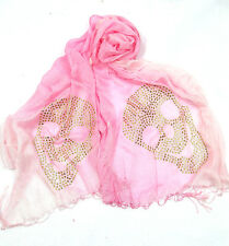 B124 Ombre Gauze Skull Gold Metal Studded Pink Shawl Scarf  Boutique