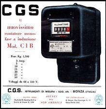 PUBBLICITA' STRUMENTI DI MISURA C.G.S. MONZA CONTATORE MONOFASE MOD. C1B 1932