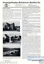Rochlitzer Porphyr Brüche Reklame von 1935 Rochlitz Bruch Steinbruch Werbung ad