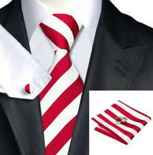 Mens Red & White Stripes Silk Woven Tie+Hanky & Cuflinks Matching Set 153