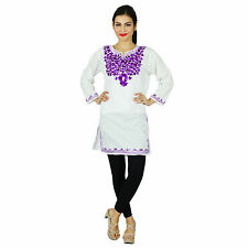 Bollywood Kurta Women Ethnic Kurti Indian Embroidered Cotton Top Tunic Dress