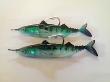 """Game Fishing Weighted Soft Plastic Marlin Lure 7"""" Rigged Green Mackeral 2 Pack"""