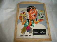 VINTAGE INDIAN CHIEF ADV GENERAL MILLS TRIX BY MASIS BEDIAN GOUACHE DRAWING ART