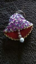 Vintage Felt Hand Crafted Christmas Ornament Bell Shaped with Pearls and Sequins