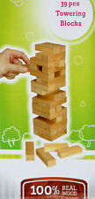 New 39 pcs Wooden Stacking Tumbling Tower Family Traditional Fun Board Game Gift