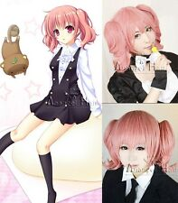 Inu x Boku SS Roromiya Karuta Cosplay Wig Short Pink Synthetic Hair Full Wigs