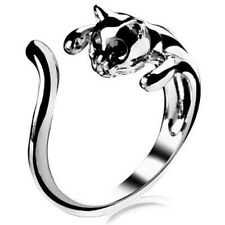 New Fashion Lovely Silver Kitten Cute Cat Animal Crystal Black Eyes Finger Rings