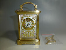 VINTAGE SWISS WIND UP CARRIAGE MANTEL CLOCK 24K GOLD & RUBIES STERLING SILVER