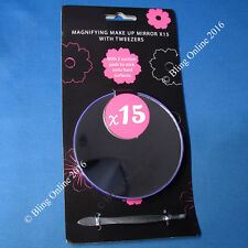 MAGNIFYING MIRROR 15x MAGNIFICATION & EYEBROW TWEEZER CLOSE UP EYE MAKEUP TRAVEL