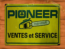 """TIN-UPS TIN SIGN """"French Pioneer Chain Saws"""" Vintage Rustic Wall Decor"""