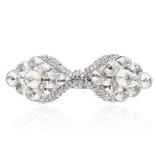 Holy White Clear Rhinestone Crystal Bowtie Barrette Hair Clip Bridal Party Gift