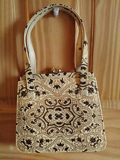 VTG Italy Leather Gold & Black Lacy Floral Embossed Mini Cocktail Handbag