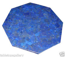 """30"""" Marble Coffee Side Table Top Rare Lapis Stone Mosaic Inlay Patio Deco H2028A"""