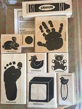 Stampin' Up KIDS PRINTS Stamps NEW Buttons Baby Shower Blocks Crayon Teddy RARE