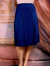 $975 ROBERTO CAVALLI Sexy Navy Blue Stretchy Jersey Ruched Pleated Skirt 42 8