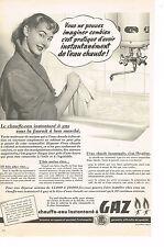 PUBLICITE ADVERTISING 014   1954   GAZ DE VILLE  chauffe- eau  instantané