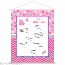 60cm Pink Girl's New Baby Shower With Love Party Sign In Sheet Poster Decoration