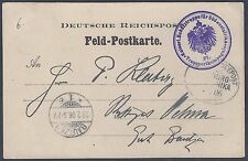 GERMANY 1906 KAISER SEAPOST CARD SOUTHWEST AFRICA CONTINGENCY SEAL ON FIELD POST