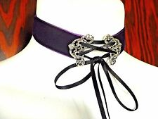 DARK PURPLE VELVET CORSET CHOKER silver black lace up ribbon gothic necklace 4D