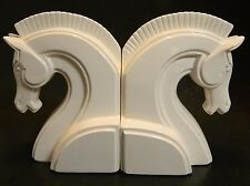 "Vintage White Greek Horse Head Ceramic Bookends 7"" x 5"" x 4"" Excellent Condition"