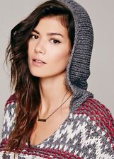 FREE PEOPLE CHARCOAL GREY GRAY COMBO HOODED FAIRISLE PULLOVER KNIT SWEATER SZ XS