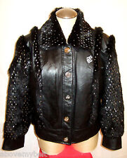 ROCAWEAR BLACK LEATHER & Fur Jacket/Coat***XL***$278***99.99% NEWBIE!!!!