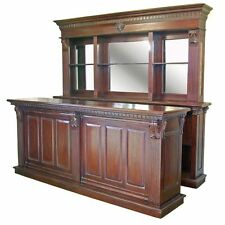 Exceptional 2.6m Solid Mahogany Pub Counter & Back Bar, Home Drinks Wine Shop