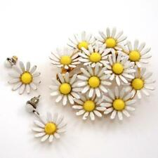 Vintage Weiss Yellow White Daisy Flower Pin Brooch Earring Set QX