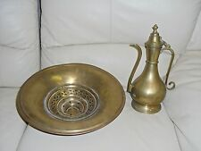 SUPERB LARGE FINE ANTIQUE OTTOMAN / PERSIAN ISLAMIC BRASS EWER + BASIN C1800's