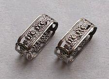 *RAR* Paar großen Serviettenringe mit floralen Motiven in 835 Silber