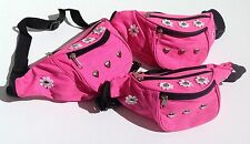 Neon Pink Bum Bag, Fanny Pack - Daisy, Flowers, Hearts, Studs - Festival, 90's