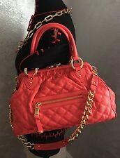 Marc Jacobs Classic Stam, Coral Orange Color Orig.$1395 Quilted Leather Satchel