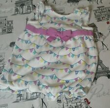 Gymboree 3-6 mths baby girl white w purple flag romper mint summer bubble short