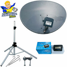 60cm Sky dish quad LNB & tripod + Satellite Finder portable camping caravan