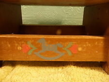 Vintage 1984 Fisher Price Wood Stool Blue Rocking Horse with Pink Hearts