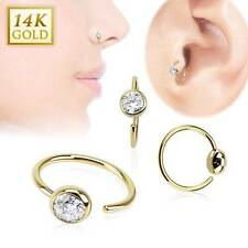 """14KT Solid Yellow Gold Nose Ring Hoop 5/16"""" 7.9mm Bezel Daith Ear Cartilage 20G"""
