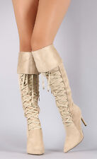 Nude / Black Lace Up Folded Pointed Toe Over Knee - Knee High Heel Boots, US 10