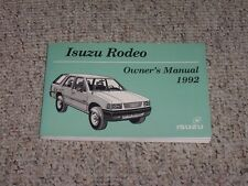 1992 Isuzu Rodeo Owner's Owner Manual User Guide S XS LS 4WD 2.6L 3.1L V6