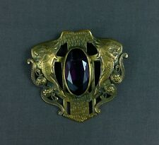 Antique Sash Pin Brooch Dragons Beaux Arts Apollo Studios Purple Faceted Glass