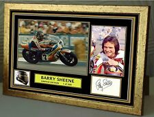 "Barry Sheene Motor Cycle legend gold Framed Canvas Signed ""Great Gift"""