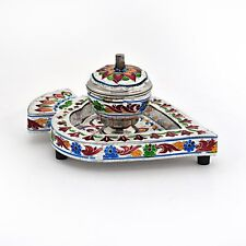 "UFC Mart Designer Meenakari Box and Tray in White Metal 6""X4""X2"""